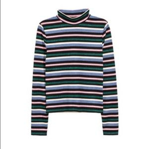 Striped Glitter Mock Neck Multicolor Crop Top